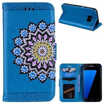 Datura Flowers Flash Powder Leather Wallet Holster Case for Samsung Galaxy S7 G930 - Blue