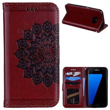 Datura Flowers Flash Powder Leather Wallet Holster Case for Samsung Galaxy S7 G930 - Brown