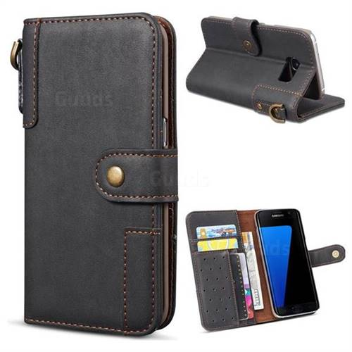 Retro Luxury Cowhide Leather Wallet Case for Samsung Galaxy S7 G930 - Black