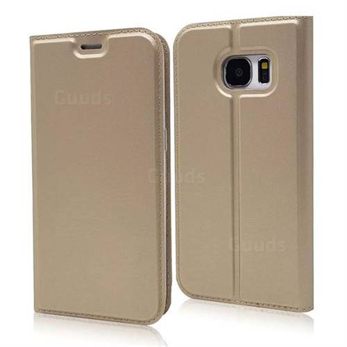Ultra Slim Card Magnetic Automatic Suction Leather Wallet Case for Samsung Galaxy S7 G930 - Champagne