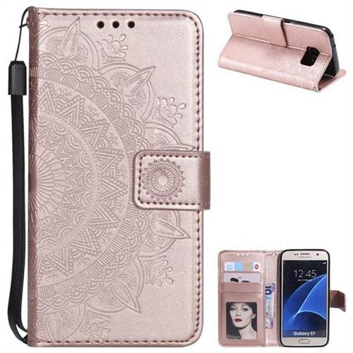 Intricate Embossing Datura Leather Wallet Case for Samsung Galaxy S7 G930 - Rose Gold