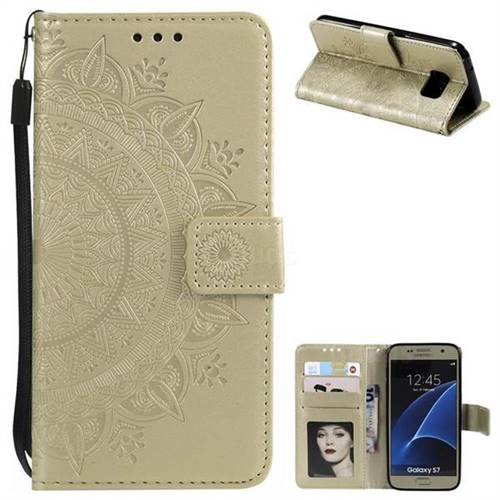 Intricate Embossing Datura Leather Wallet Case for Samsung Galaxy S7 G930 - Golden