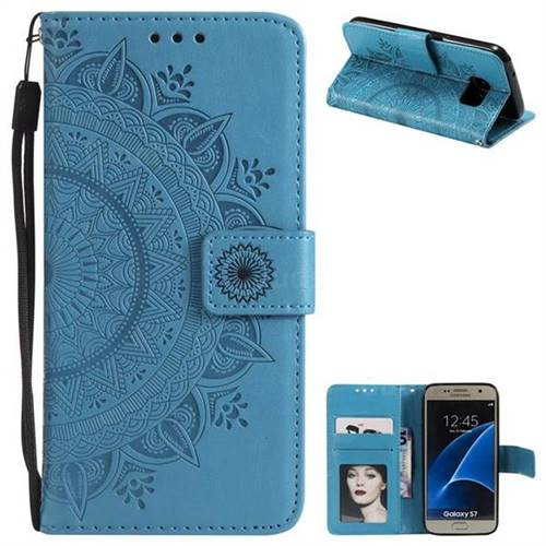 Intricate Embossing Datura Leather Wallet Case for Samsung Galaxy S7 G930 - Blue