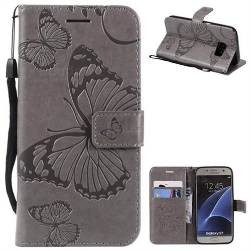 Embossing 3D Butterfly Leather Wallet Case for Samsung Galaxy S7 G930 - Gray