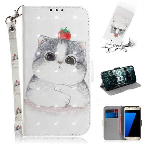Cute Tomato Cat 3D Painted Leather Wallet Phone Case for Samsung Galaxy S7 G930