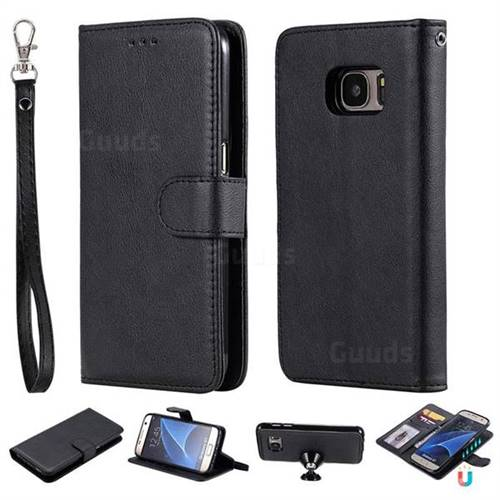 Retro Greek Detachable Magnetic PU Leather Wallet Phone Case for Samsung Galaxy S7 G930 - Black