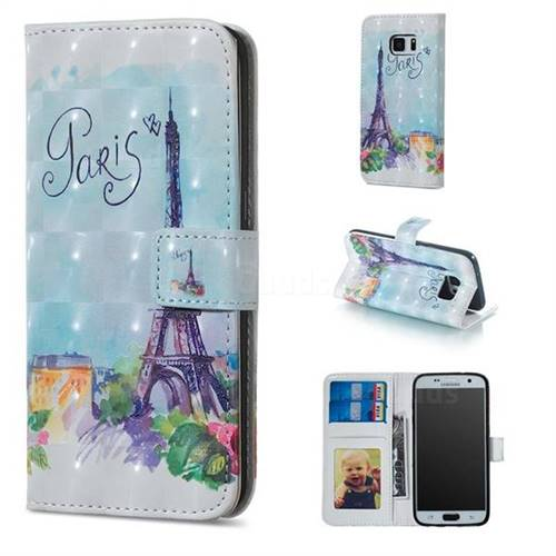 Paris Tower 3D Painted Leather Phone Wallet Case for Samsung Galaxy S7 G930