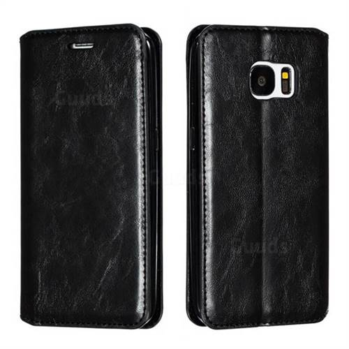Retro Slim Magnetic Crazy Horse PU Leather Wallet Case for Samsung Galaxy S7 G930 - Black