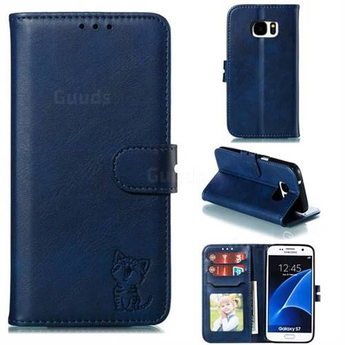 Embossing Happy Cat Leather Wallet Case for Samsung Galaxy S7 G930 - Blue