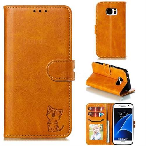 Embossing Happy Cat Leather Wallet Case for Samsung Galaxy S7 G930 - Yellow