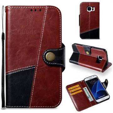 Retro Magnetic Stitching Wallet Flip Cover for Samsung Galaxy S7 G930 - Dark Red
