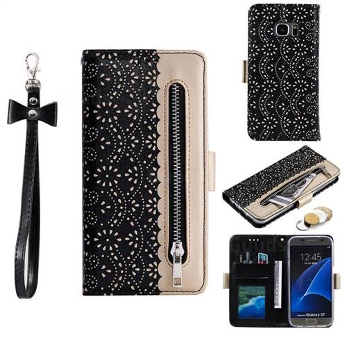 Luxury Lace Zipper Stitching Leather Phone Wallet Case for Samsung Galaxy S7 G930 - Black