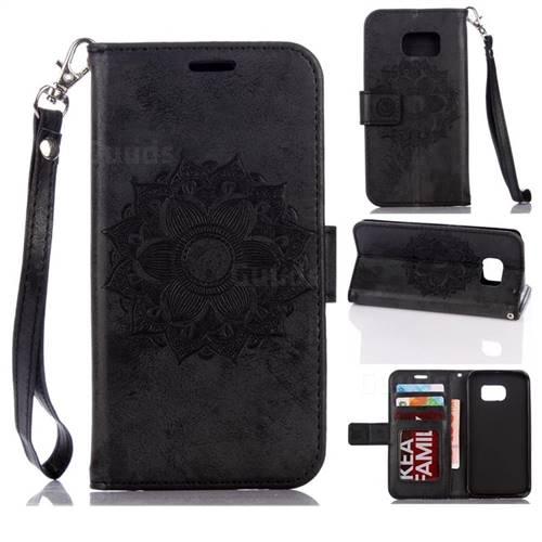 Embossing Retro Matte Mandala Flower Leather Wallet Case for Samsung Galaxy S7 G930 - Black