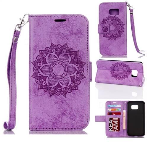 Embossing Retro Matte Mandala Flower Leather Wallet Case for Samsung Galaxy S7 G930 - Purple