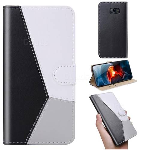 Tricolour Stitching Wallet Flip Cover for Samsung Galaxy S7 G930 - Black