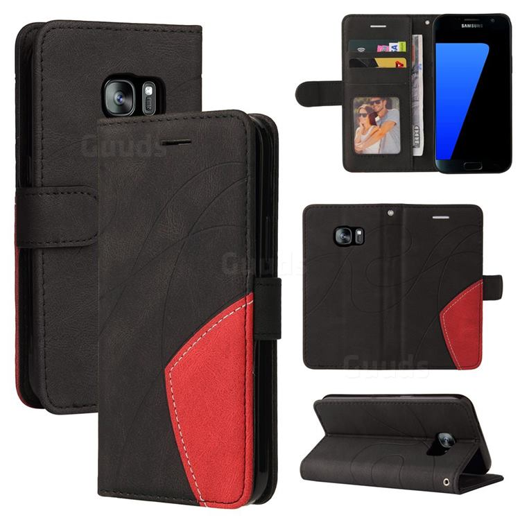 Luxury Two-color Stitching Leather Wallet Case Cover for Samsung Galaxy S7 G930 - Black