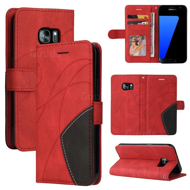 Luxury Two-color Stitching Leather Wallet Case Cover for Samsung Galaxy S7 G930 - Red
