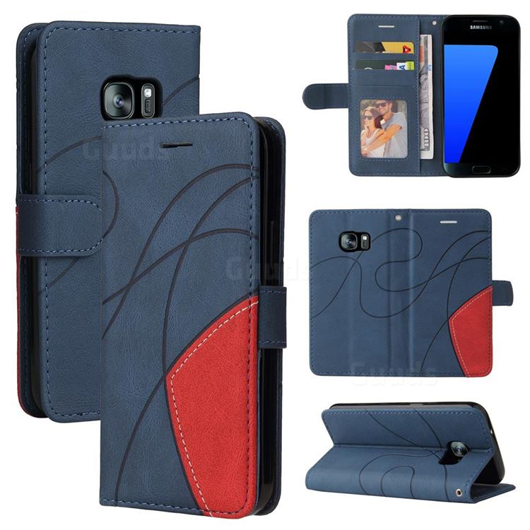 Luxury Two-color Stitching Leather Wallet Case Cover for Samsung Galaxy S7 G930 - Blue