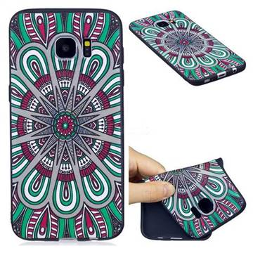 Mandala 3D Embossed Relief Black Soft Back Cover for Samsung Galaxy S7 Edge s7edge