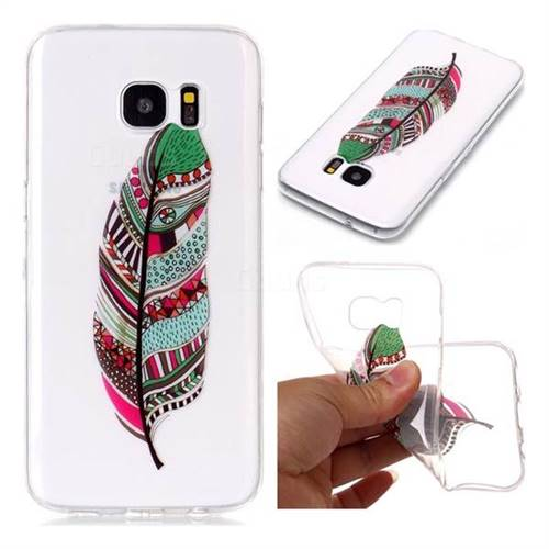 Green Feathers Super Clear Soft TPU Back Cover for Samsung Galaxy S7 Edge s7edge