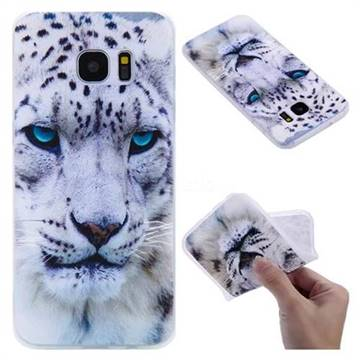 White Leopard 3D Relief Matte Soft TPU Back Cover for Samsung Galaxy S7 Edge s7edge