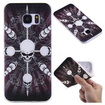 Compass Skulls 3D Relief Matte Soft TPU Back Cover for Samsung Galaxy S7 Edge s7edge