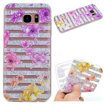 Striped Roses Super Clear Soft TPU Back Cover for Samsung Galaxy S7 Edge s7edge