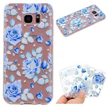 Ice Rose Super Clear Soft TPU Back Cover for Samsung Galaxy S7 Edge s7edge