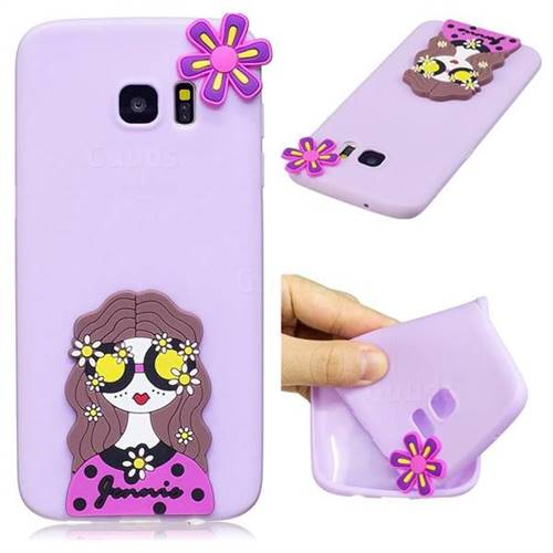 Violet Girl Soft 3D Silicone Case for Samsung Galaxy S7 Edge s7edge