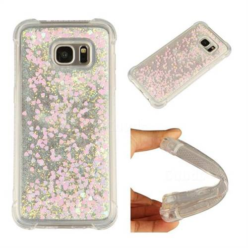 Dynamic Liquid Glitter Sand Quicksand Star TPU Case for Samsung Galaxy S7 Edge s7edge - Pink