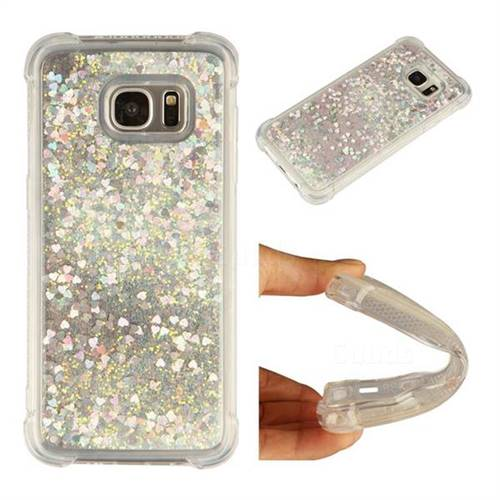 Dynamic Liquid Glitter Sand Quicksand Star TPU Case for Samsung Galaxy S7 Edge s7edge - Silver
