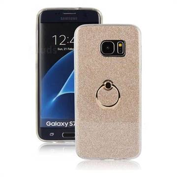 Luxury Soft TPU Glitter Back Ring Cover with 360 Rotate Finger Holder Buckle for Samsung Galaxy S7 Edge s7edge - Golden