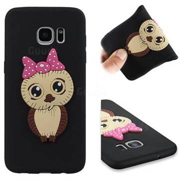Bowknot Girl Owl Soft 3D Silicone Case for Samsung Galaxy S7 Edge s7edge - Black