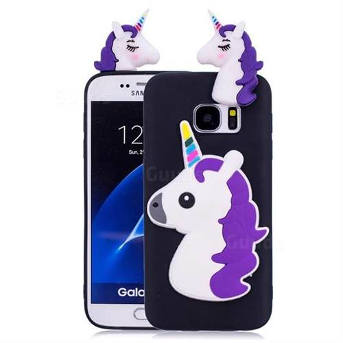 Unicorn Soft 3D Silicone Case for Samsung Galaxy S7 Edge s7edge - Black