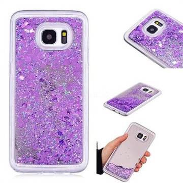 Glitter Sand Mirror Quicksand Dynamic Liquid Star TPU Case for Samsung Galaxy S7 Edge s7edge - Purple