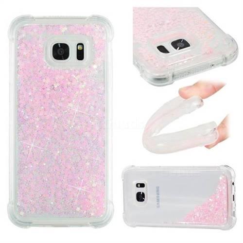 Dynamic Liquid Glitter Sand Quicksand TPU Case for Samsung Galaxy S7 Edge s7edge - Silver Powder Star