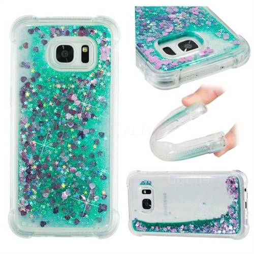 Dynamic Liquid Glitter Sand Quicksand TPU Case for Samsung Galaxy S7 Edge s7edge - Green Love Heart