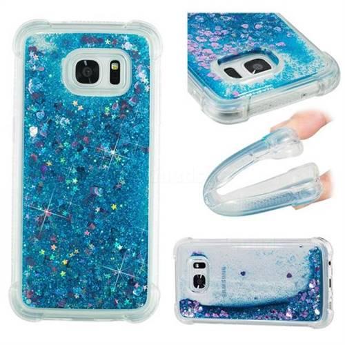94fa9efb0056 Dynamic Liquid Glitter Sand Quicksand TPU Case for Samsung Galaxy S7 Edge  s7edge - Blue Love