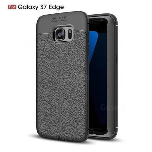 Luxury Auto Focus Litchi Texture Silicone TPU Back Cover for Samsung Galaxy S7 Edge s7edge - Black
