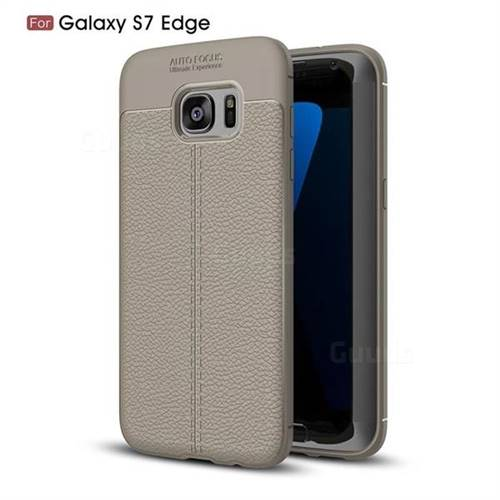 Luxury Auto Focus Litchi Texture Silicone TPU Back Cover for Samsung Galaxy S7 Edge s7edge - Gray