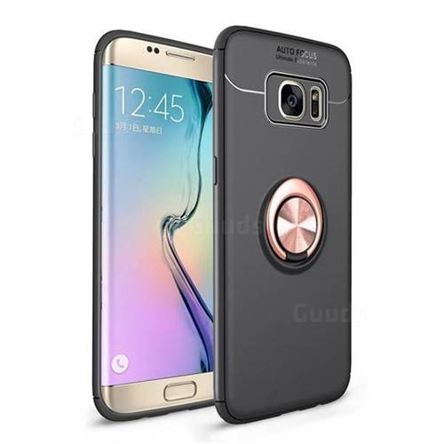 Auto Focus Invisible Ring Holder Soft Phone Case for Samsung Galaxy S7 Edge s7edge - Black Gold