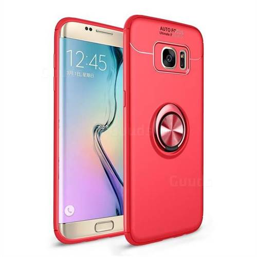 Auto Focus Invisible Ring Holder Soft Phone Case for Samsung Galaxy S7 Edge s7edge - Red