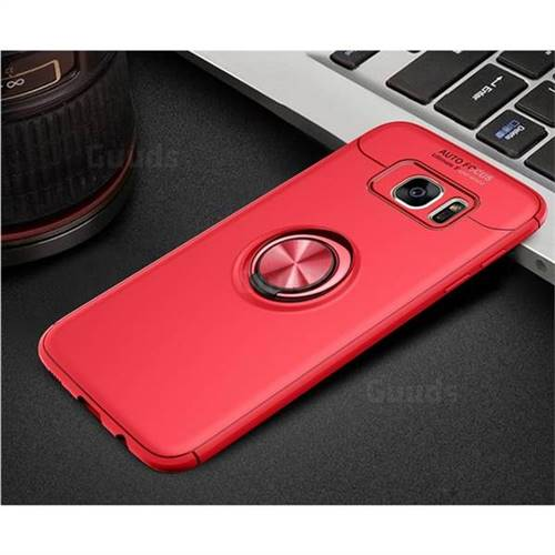 new product 04993 def6f Auto Focus Invisible Ring Holder Soft Phone Case for Samsung Galaxy S7 Edge  s7edge - Red
