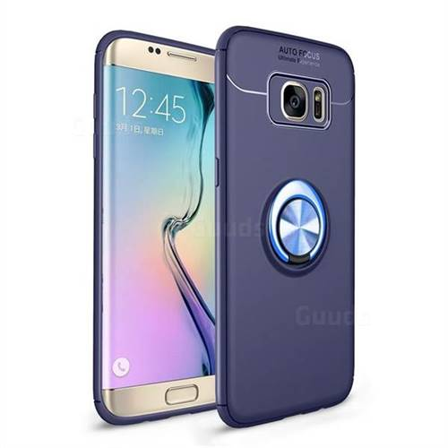 Auto Focus Invisible Ring Holder Soft Phone Case for Samsung Galaxy S7 Edge s7edge - Blue