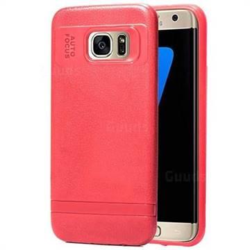 watch 7b7e5 8c9b6 Litchi Grain Silicon Soft Phone Case for Samsung Galaxy S7 Edge s7edge - Red