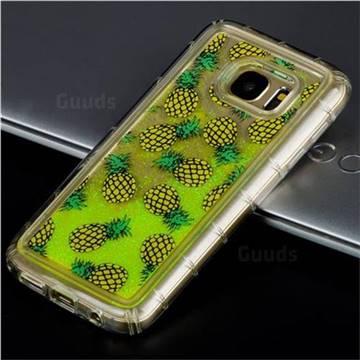 Pineapple Glassy Glitter Quicksand Dynamic Liquid Soft Phone Case for Samsung Galaxy S7 Edge s7edge