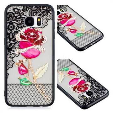 Rose Lace Diamond Flower Soft TPU Back Cover for Samsung Galaxy S7 Edge s7edge