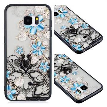 Lilac Lace Diamond Flower Soft TPU Back Cover for Samsung Galaxy S7 Edge s7edge