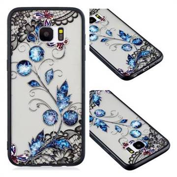 Butterfly Lace Diamond Flower Soft TPU Back Cover for Samsung Galaxy S7 Edge s7edge