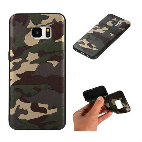 Camouflage Soft TPU Back Cover for Samsung Galaxy S7 Edge s7edge - Gold Green